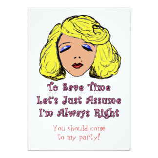 Blonde Glamour Girl Save Time Always Right Card