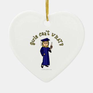 Blonde Graduate in Blue Ornament