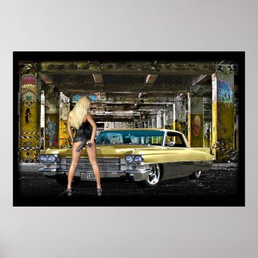 blonde,gun,cadillac poster