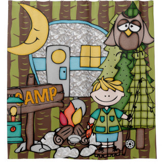 Blonde Hair Boy Outdoors Camping Fishing Vacation Shower Curtain