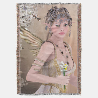Blonde Hair Fairy girl and Butterfly Throw Blanket