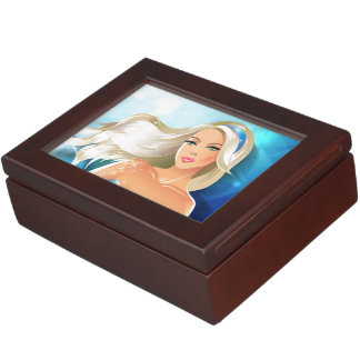 Blonde hair fashion model with blue headband memory boxes