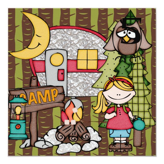 Blonde Hair Girl Camping Birthday Invitations
