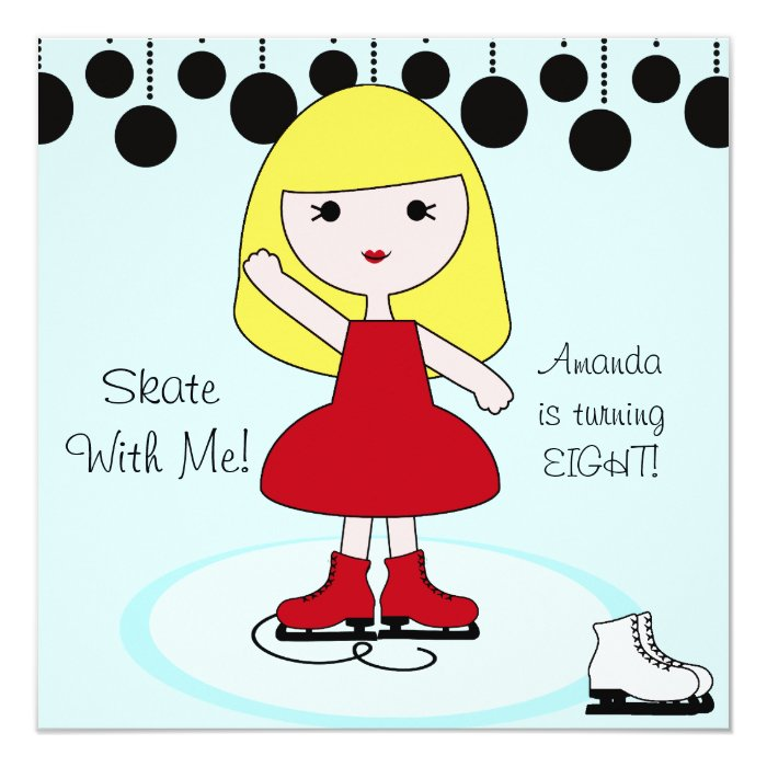 Blonde Hair Girl Ice Skating Party Invitations