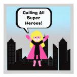 Blonde Hair Girl Super Hero Birthday Invitation