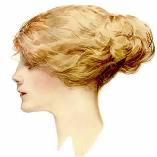 Blonde Harrison Fisher Girl  Pin Photo Sculpture Badge