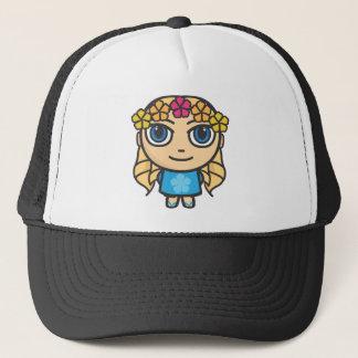 Blonde Hula Girl Blue Dress-Blue Eyes Cap