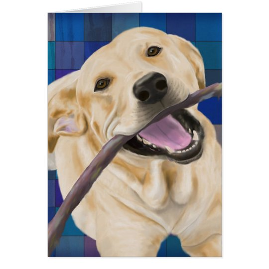 Blonde Labrador Smiling with Joy, Chewing a Stick Card