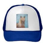 blonde mane chestnut horse portrait equine art trucker hat