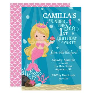 Blonde Mermaid 1ST Birthday Invitation - no photo