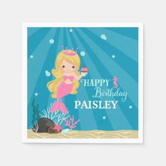 Blonde Mermaid Birthday Disposable Serviette