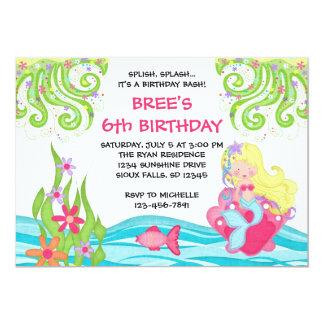 "Blonde Mermaid Birthday Invitations 5"" X 7"" Invitation Card"