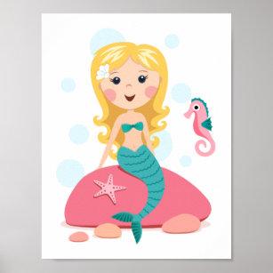 Blonde mermaid cartoon girl with starfish seahorse poster