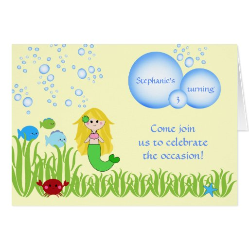 Blonde mermaid cute girl birthday party invitation greeting cards