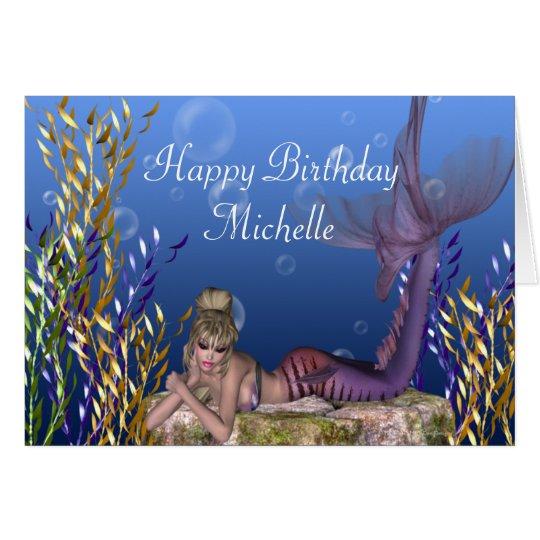 Blonde Mermaid Fantasy Customisable Birthday Card