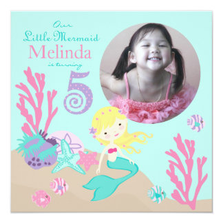 Blonde Mermaid Fifth Birthday 13 Cm X 13 Cm Square Invitation Card