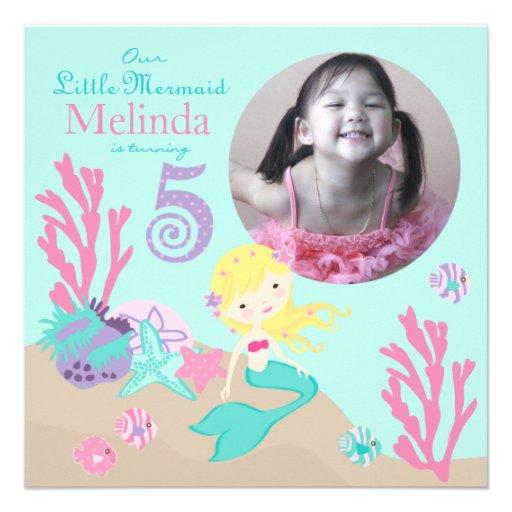 Blonde Mermaid Fifth Birthday Invitation