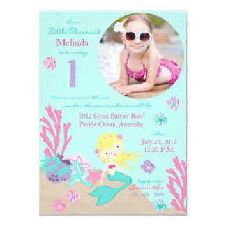 Blonde Mermaid First Birthday Invitation