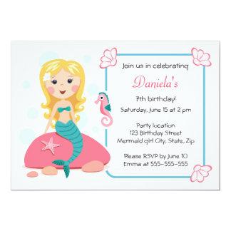 Blonde mermaid girl cute girly birthday invitation