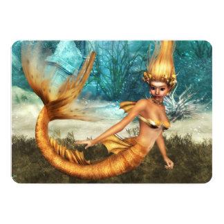 Blonde Mermaid 13 Cm X 18 Cm Invitation Card