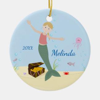 Blonde Mermaid Keepsake Christmas Ornament