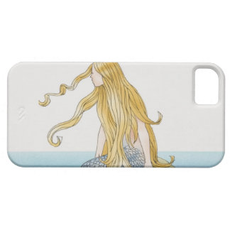 Blonde mermaid sitting on sea rock, side view. case for the iPhone 5