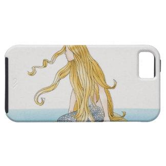 Blonde mermaid sitting on sea rock, side view. iPhone 5 case