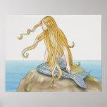 Blonde mermaid sitting on sea rock, side view. poster