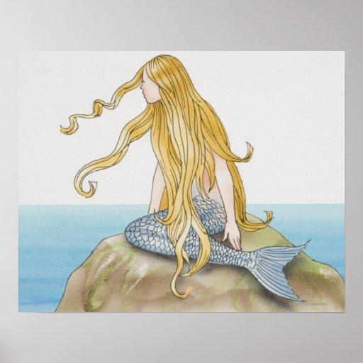 Blonde mermaid sitting on sea rock, side view. print