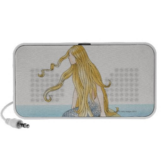 Blonde mermaid sitting on sea rock, side view. PC speakers