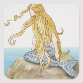 Blonde mermaid sitting on sea rock, side view. square sticker