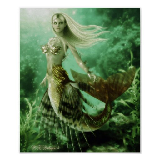 Blonde mermaid swimming in reef poster