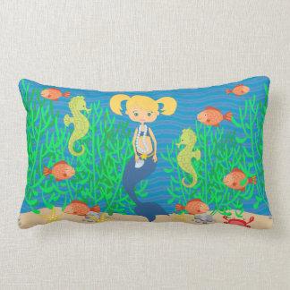 Blonde Mermaid Under The Sea Lumbar Cushion