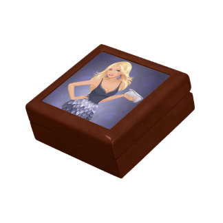 Blonde model holding purse in navy blue dress small square gift box