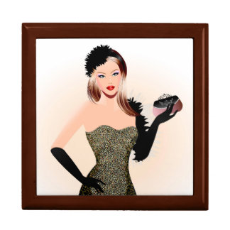 Blonde model in a black dress large square gift box