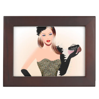 Blonde model in a black dress memory boxes