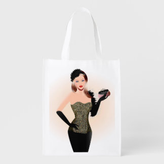 Blonde model in a black dress with long dress glov reusable grocery bag