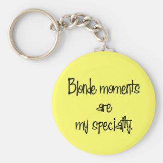 Blonde Moments Basic Round Button Key Ring
