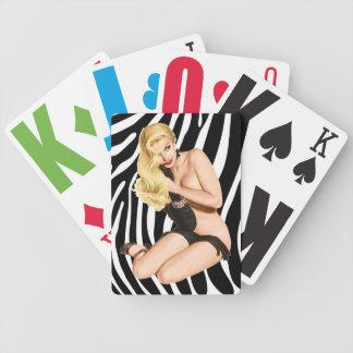 Blonde On Zebra Skin Retro Playing Cards