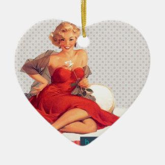 "Blonde Pin Up ""Hello, Love"" Ceramic Heart Decoration"