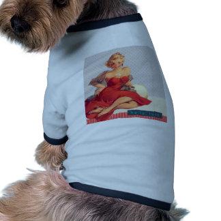 "Blonde Pin Up ""Hello, Love"" Ringer Dog Shirt"