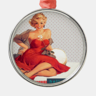 """Blonde Pin Up """"Hello, Love"""" Silver-Colored Round Decoration"""