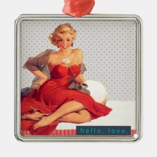 "Blonde Pin Up ""Hello, Love"" Silver-Colored Square Decoration"