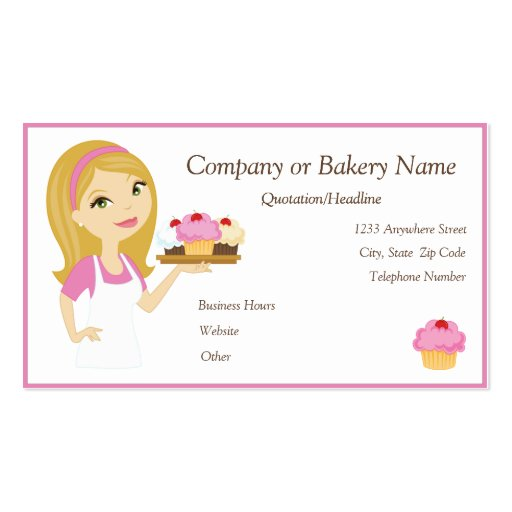 Collections of pastry chef business cards blondepink cupcake bakerbakery 2 business card colourmoves