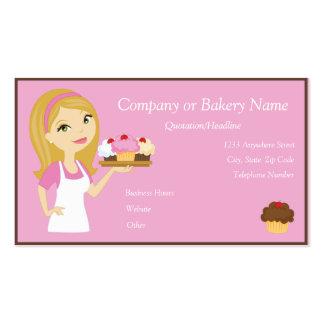 Blonde Pink Cupcake Baker Bakery 3 Business Card