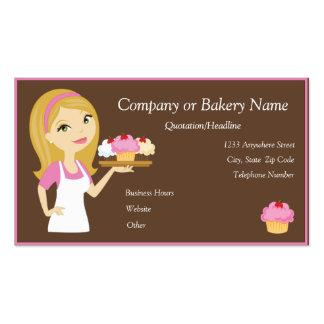 Blonde Pink Cupcake Baker Bakery Business Card