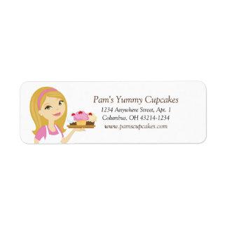 Blonde/Pink Cupcake Baker Return Address Labels