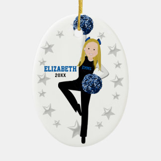 Blonde Pom Squad in Black, Blue & White Christmas Ornament
