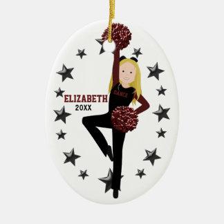 Blonde Pom Squad in Black & Maroon Christmas Ornament