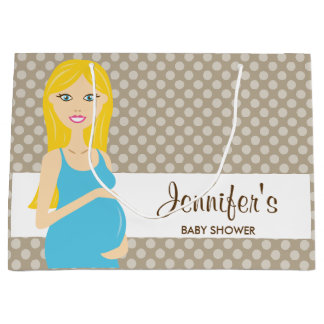 Blonde Pregnant Woman In Blue Dress Baby Shower Large Gift Bag